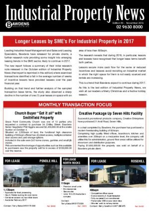 Longer Leases by SME's For Industrial Property in 2017